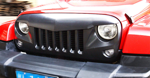 Safaripal Jeep Wrangler Front Grille Grill Eagle Eye for Jeep Wrangler Rubicon Sahara Sport Jk 2007-2016 Matte Black