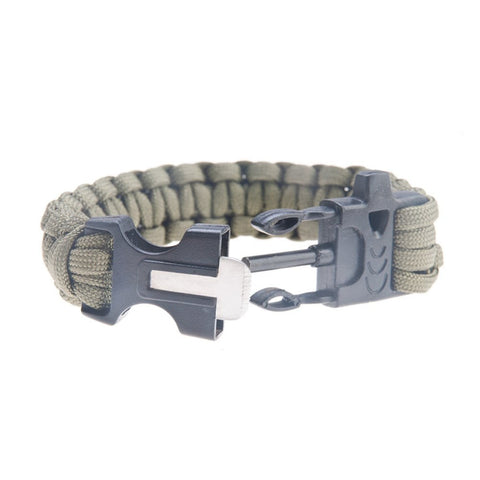 Safaripal Outdoor Paracord bracelet with flint fire starter, scraper & whistle kits, set of 2, 2 colors black and green army