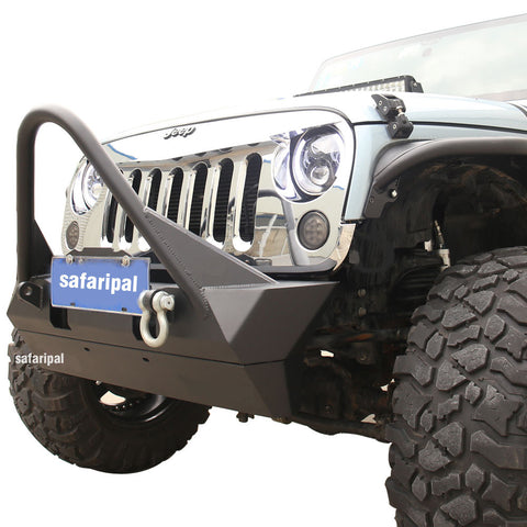 Safaripal Metal Stubby Front Bumper with Stinger for Jeep Wrangler JK Rubicon Sahara Sports 2007-2017 Black