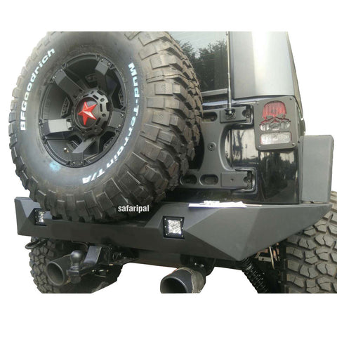 Safaripal Jeep Wrangler Full Width Rear Bumper for Jeep Wrangler JK 2007-2017 Rubicon Sahara Sports Black