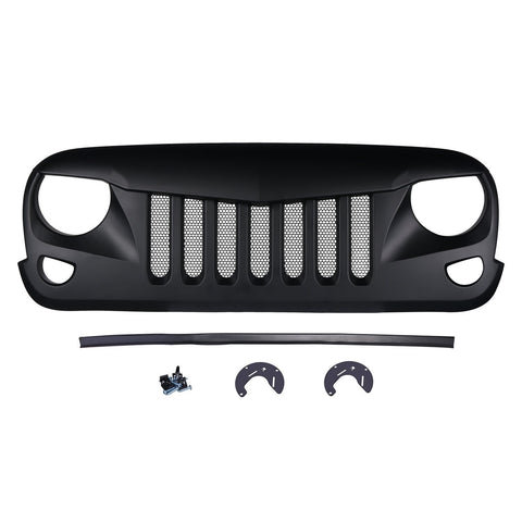 Safaripal Eagle Eye Grille Front  Grill for Jeep Wrangler Jk Rubicon Sahara Sport 2007-2017 Matte Black
