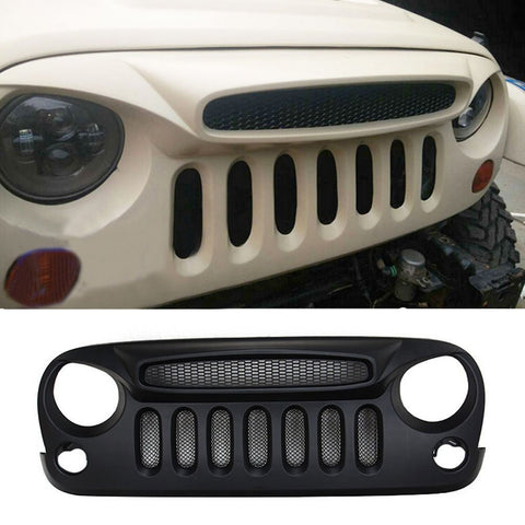 Safaripal Shark Nose Ghost Jeep Front Grille Grill w/ Mesh for Jeep Wrangler Rubicon Sahara Sport Jk 2007-2016 Matte Black