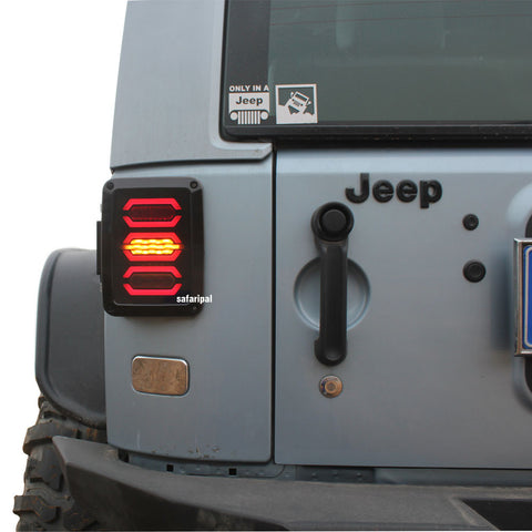 Safaripal LED Tail Lights Diamond Style For 2007 2016 Jeep Wrangler Jk  Brake Reverse Turn