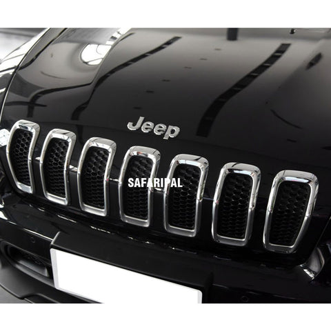 Safaripal Chrome Front Grille Trim Cover 7pcs for Jeep Cherokee 2014-2015