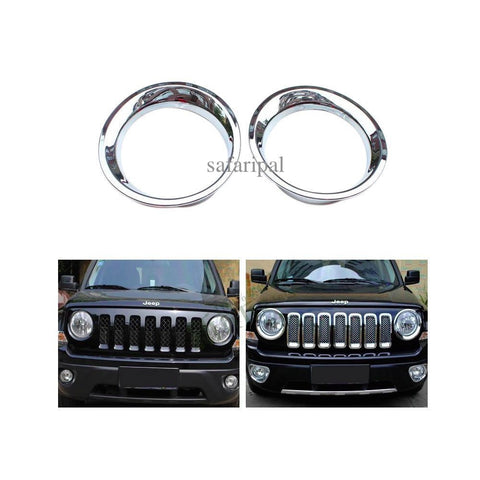 Safaripal Headlight Trim Cover ABS For  Jeep Patriot 1 Pair 2011-2014 Silver