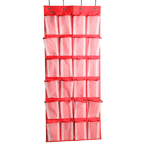 24 Mesh Pockets Over the Door Shoe Organizer Space Saver Rack Hanging Storage