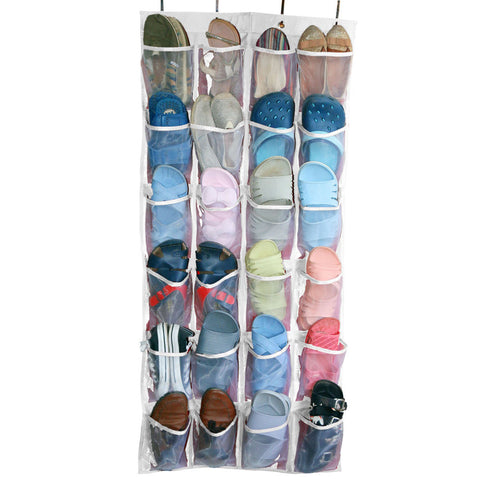 ... 24 Mesh Pockets Over The Door Shoe Organizer Space Saver Rack Hanging  Storage ...