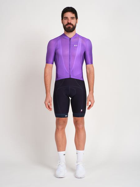 Minimalist purple cycling jersey with bbuc logo