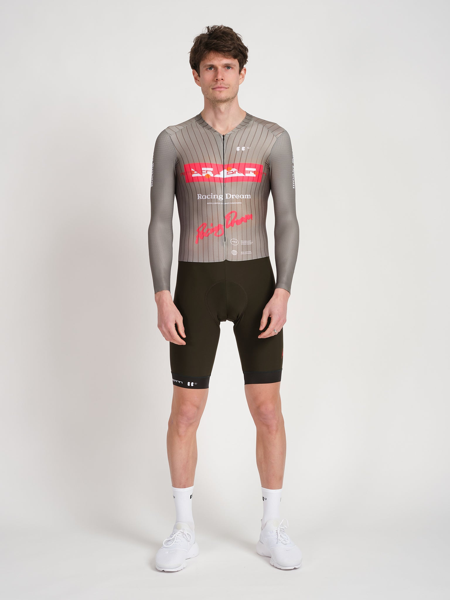 Male model wearing RD Skinsuit in Olive, featuring a long sleeve upper with a textured surface.