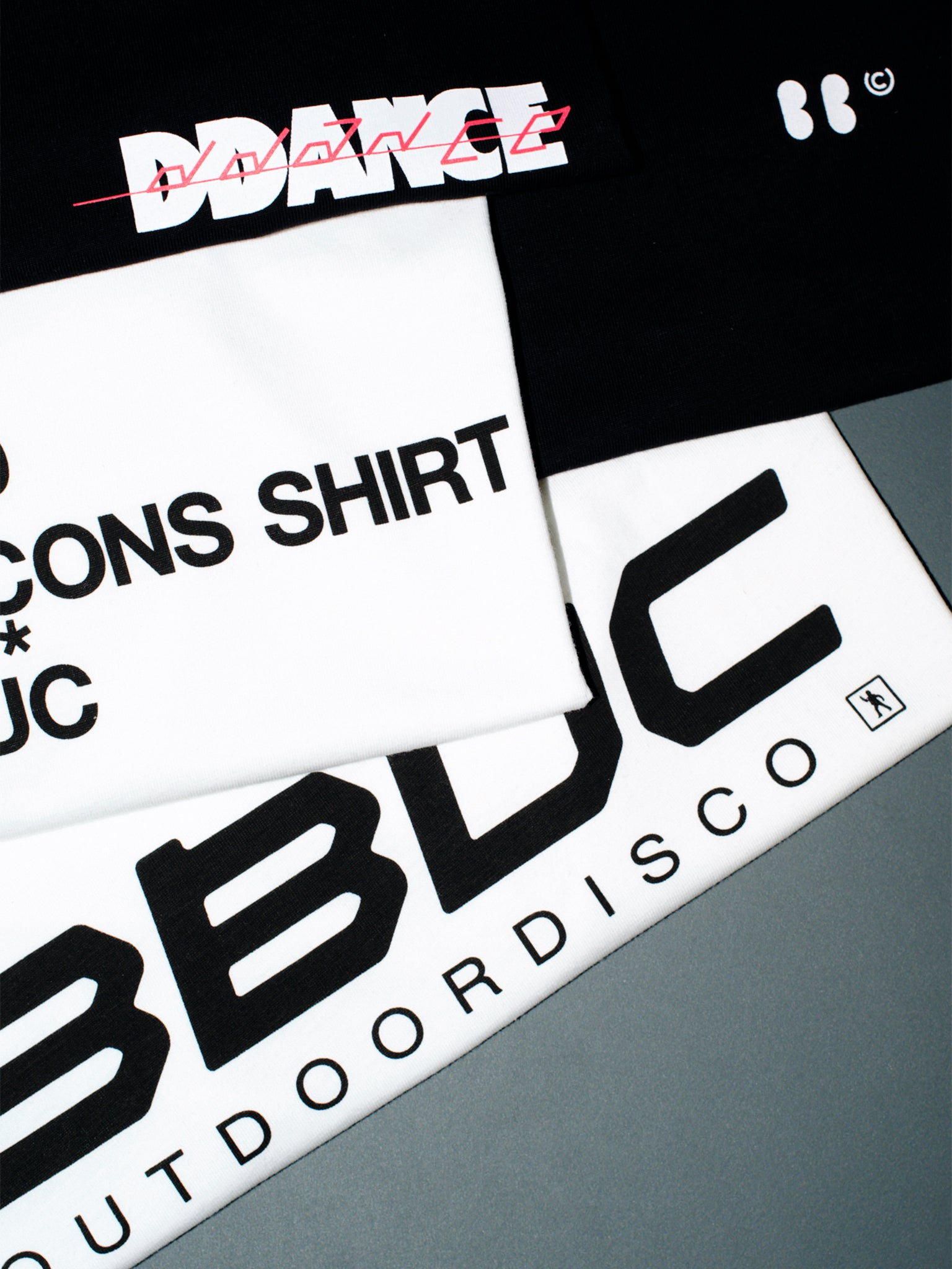 BBUC logo tee, KOM des Garcon tee, and BBUC Speed tee folded.