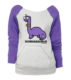 D&G Dorkasaurus Raglan Pocket Sweatshirt Ash Heather w/ Grape Sleeves