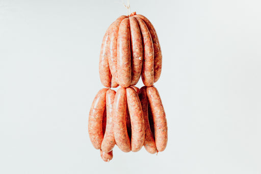 Lamb, harissa and bay leaf sausages