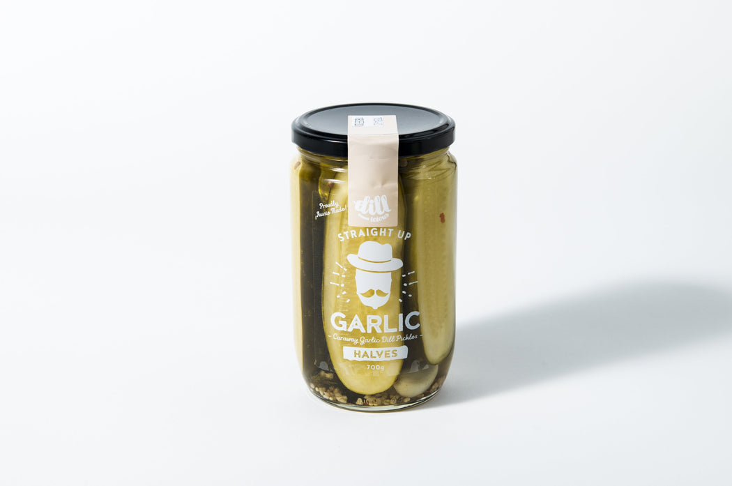Dillicious Pickles Straight Up Garlic Halves 700g