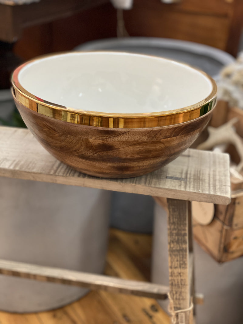 Large Enamel/wood bowl brass edge