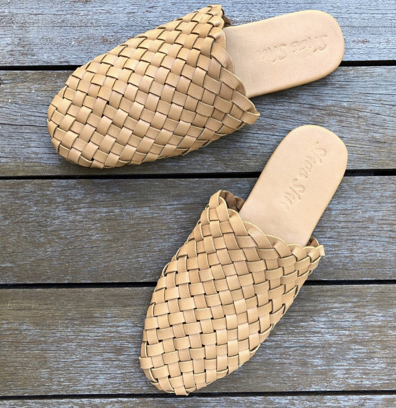 Leather Woven Loafer Slide - Light Tan