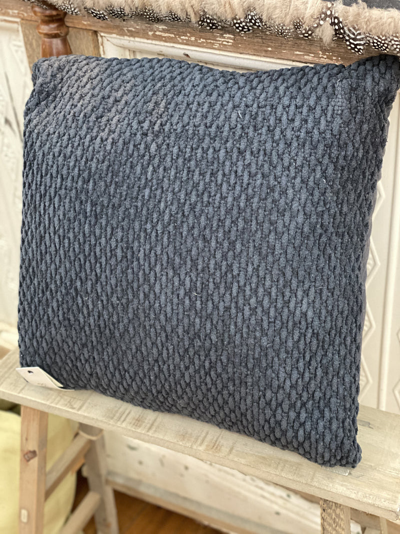 Apollo Chenille Cushion textured in Navy