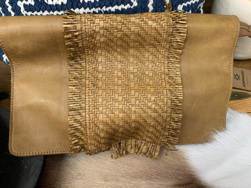 Mustard Clutch with Woven Frill