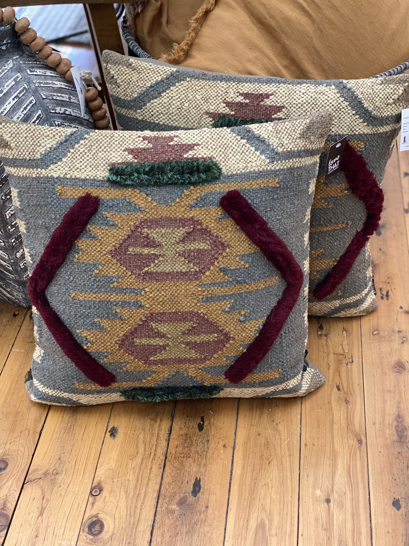 Embroided Pillow Earth Tones