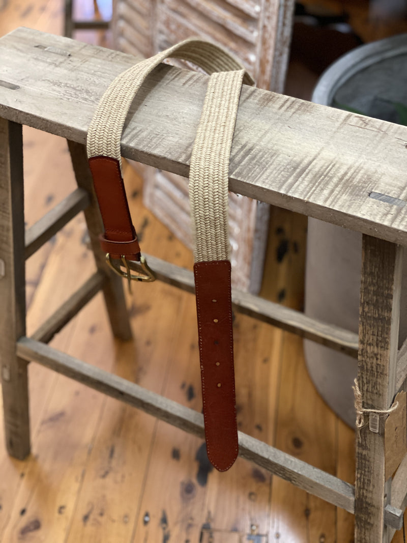 Leather and jute belt