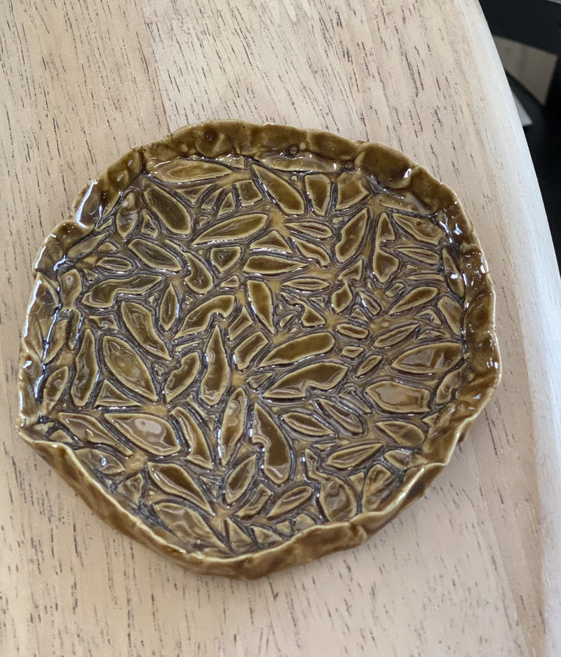 Hand made pottery small dish gloss with mustard leaf pattern