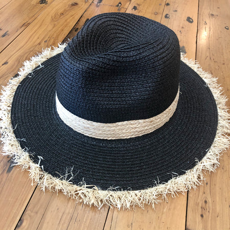Black woven ladies hat