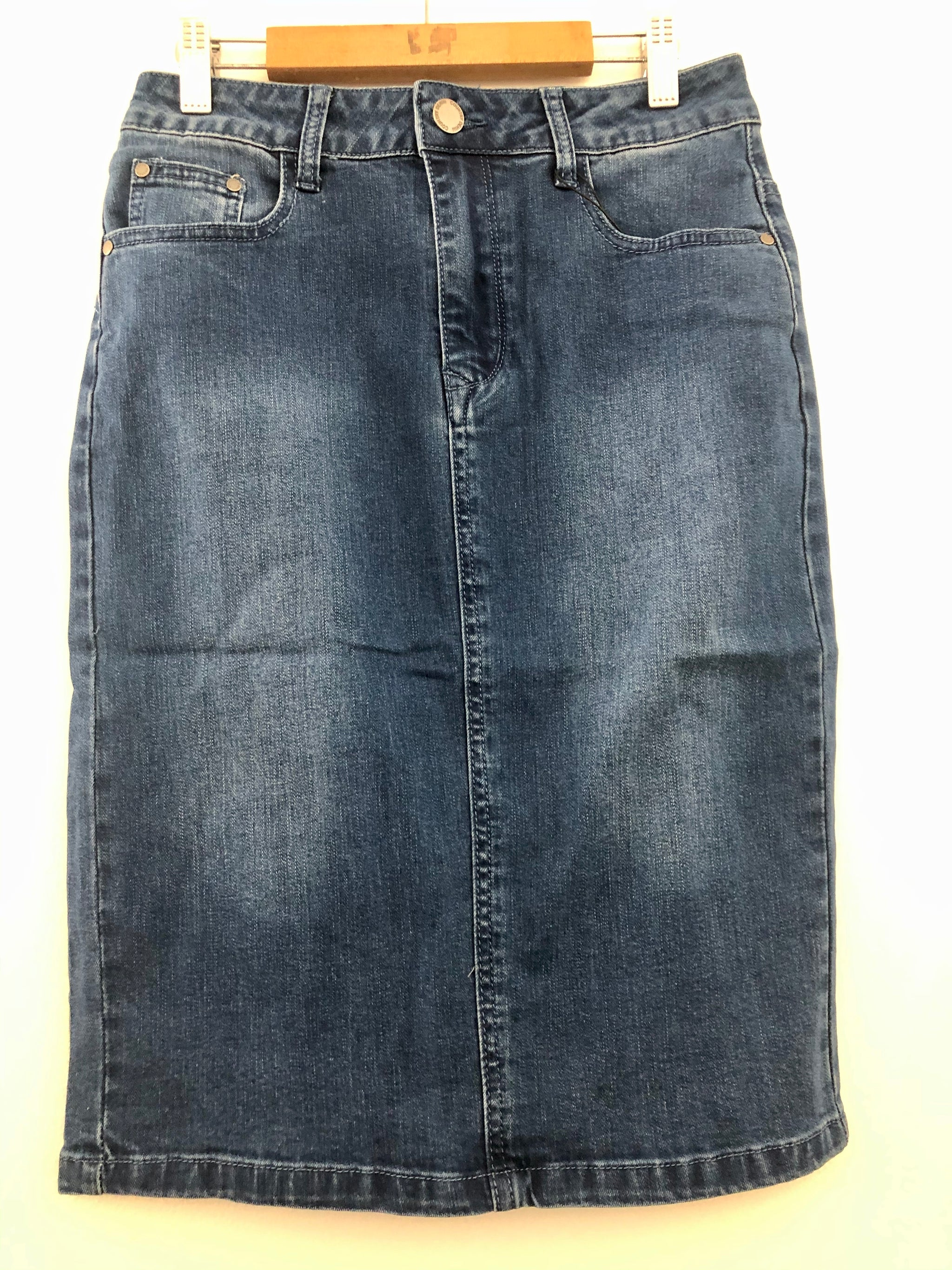 Blue Stretch Denim Skirt