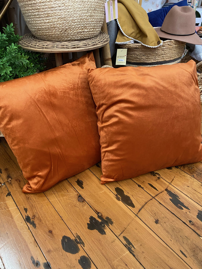 Velvet Cushion in rust