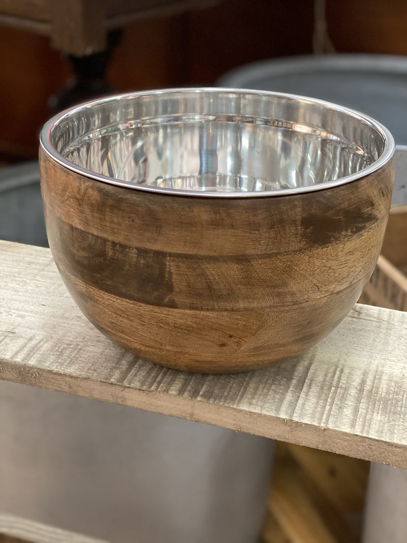 Timber bowl stainless steel insert