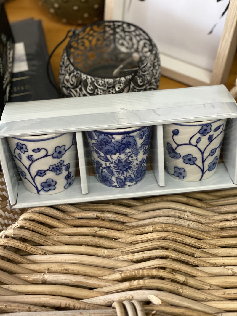 Tea Light Holder Blue/White Mix Set of Three