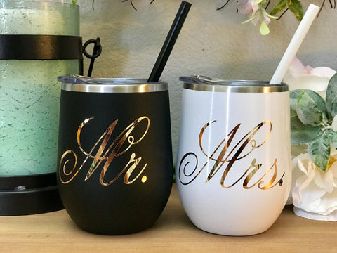 Stainless Steel Insulated Wine Tumblers, Newlywed gift, Mr. and Mrs. Wine Tumblers, Wedding Gift