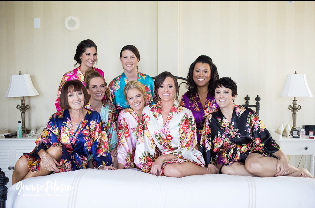 Floral Bridesmaid Robes, Satin Floral Robes