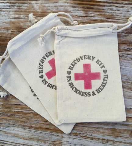 10 Recovery kits-in sickness and in health wedding favors, welcome bag favors, wedding hangover kits, recovery kit, survival kits
