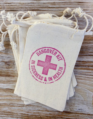15 hangover kits-in sickness and in health, hangover bags, wedding welcome bag favors, wedding hangover kits, recovery kit, survival kits