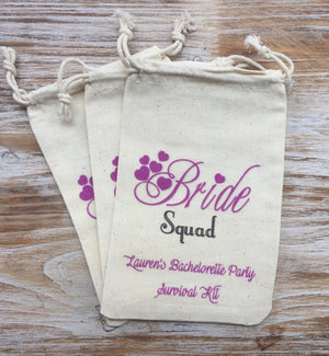 10 Bride Squad survival kit drawstring bags, bachelorette party favor bags, bachelorette hangover kits, hen party, bachelorette ideas