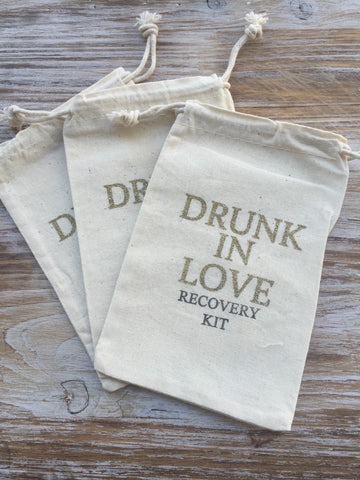 14 Gold Drunk in love Hangover kits, recovery kit, bachelorette survival kit, bachelorette party favor, girls night out