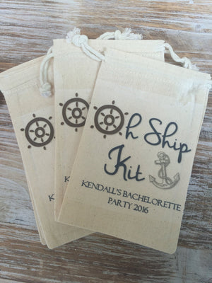 10 Oh Ship kits, 6x8 Custom Cruise hangover kits, bachelorette recovery kits, bachelorette party, welcome bag, Wedding Favors