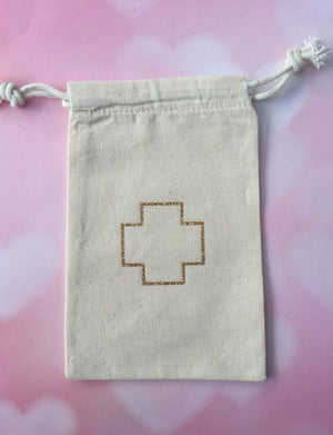 10 gold double drawstring hangover kit bags, gold recovery kit bags, gold shimmer cross drawstring bags, gold wedding favors
