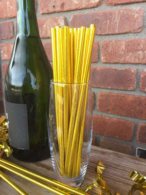 Gold foil paper straws, gold straws, gold party supplies, gold wedding supplies, drinking straws, paper straws
