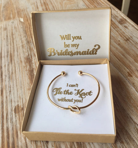 Gold Knot Bracelet, Tie the Knot bracelet, Bridesmaid jewelry, Bridesmaid Proposal Gift, Bridesmaid Gift, Knot Jewelry