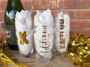 Personalized Stemless Champagne Flutes, Monogrammed Flutes, Wedding Party Champagne Flutes, Bridal Party Glasses, Wedding Flutes, Bridesmaid