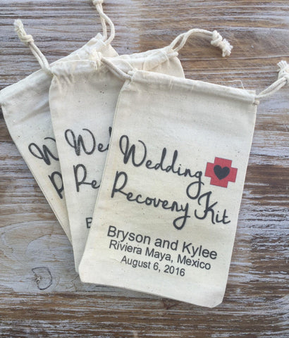 12 wedding recovery kit bags, wedding day survival kit, wedding recovery kit, hangover kit, survival kit, recovery kit, wedding emergency ki