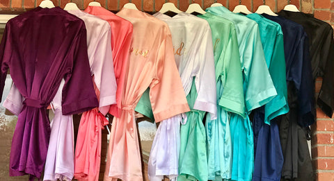 Satin Bridesmaid Robes, Personalized Satin robes, Custom Bridesmaid Robe, Bridesmaid gift, Bridal Robe, Getting Ready Robe, wedding day