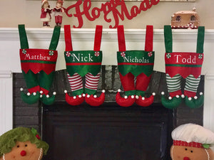 Elf Stockings, Elf Gift Bag, Personalized Stocking, Elf Pants, Christmas Gift Bag, Custom Gift Bag, Elf Stocking