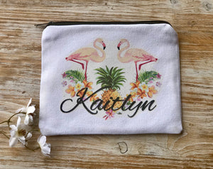 Personalized Flamingos Cosmetic bag, make up bag, Bridesmaid Gift, Custom Make up bag, Custom Bridesmaid gift, Cosmetic bag, pineapple