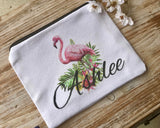 Flamingo Personalized Cosmetic bag, make up bag, Flamingo Bridesmaid Gift, Custom Make up bag, Custom Bridesmaid gift, Cosmetic bag,