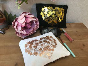 Personalized Cosmetic bag, Bridesmaid make up bag, Bridesmaid Gift, Custom Make up bag, Custom Bridesmaid gift, Gold Glitter