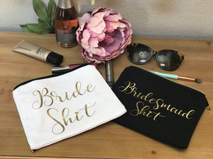 Bridal Cosmetic bag, Bridesmaid make up bag, Bridesmaid Gift, Bride Shit, mature Custom Bridesmaid gift, Gold Glitter