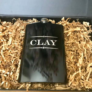 Custom Engraved Flask, Personalized Groomsman Gift, Groomsman Proposal Gift, Personalized Flask, Black Groomsman Flask