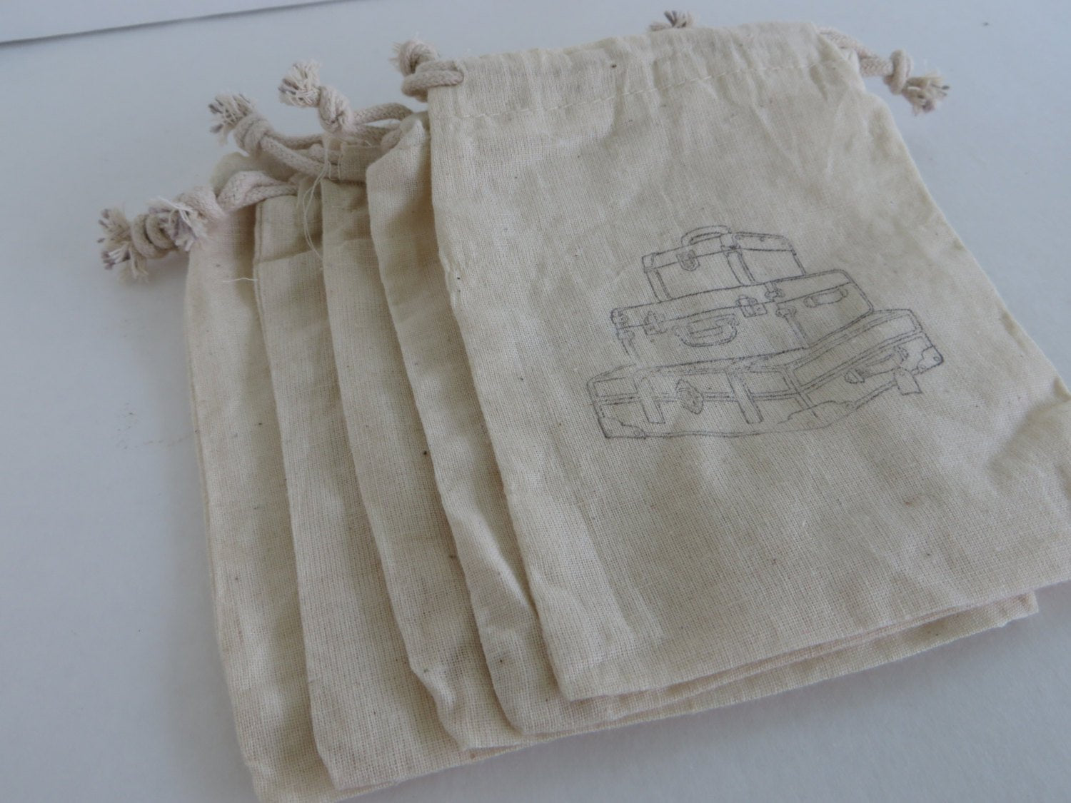 10 travel themed muslin favor bags, gift bags, suitcase bags, travel organizer, wedding favor bags, destination wedding,
