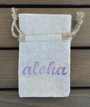 Aloha favor bags, Hawaiian wedding favor bags, linen favor bags, beach wedding favors, Luau favor bags, destination wedding favor bags